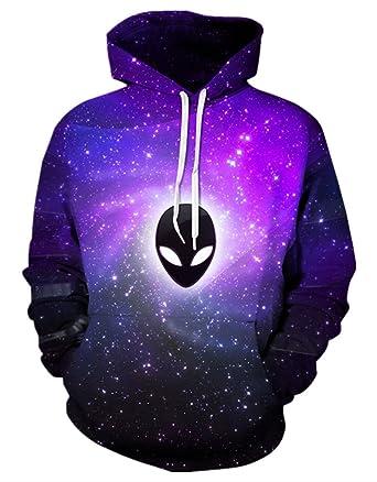 f5dd33efd GLUDEAR Unisex Realistic 3D Digital Print Pullover Hoodie Hooded Sweatshirt ,Alien,M