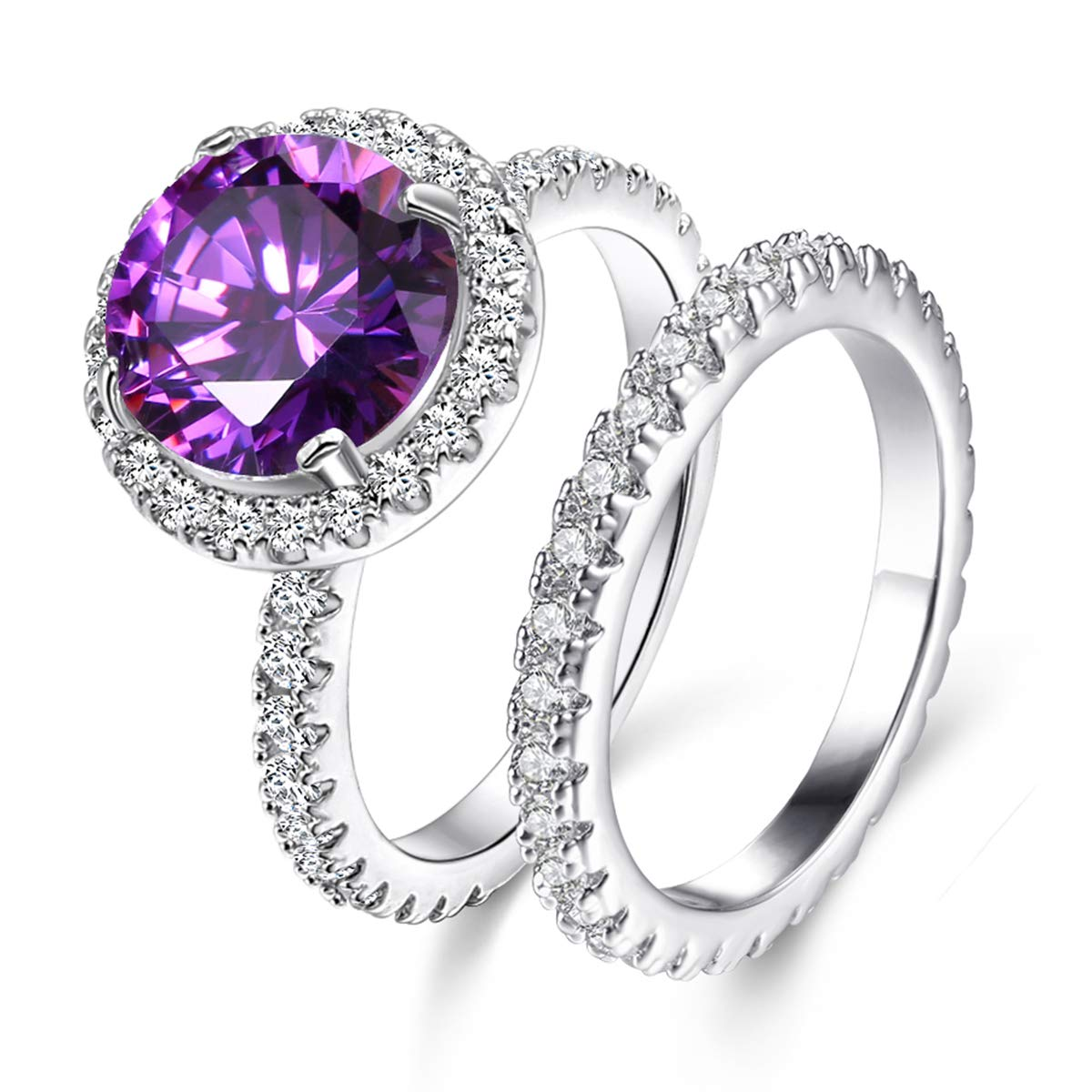 AAA Cubic Zirconia Rhodium Plated Rings for Women Elegant Purple Ring Party Jewelry Mother 's Day Gift Size 5-10 Jiangyue JWZ2324_Purple
