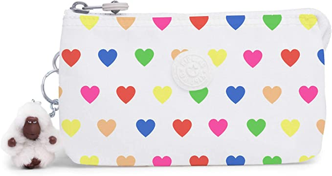 Kipling Creativity Large Pouch Wild Hearts White