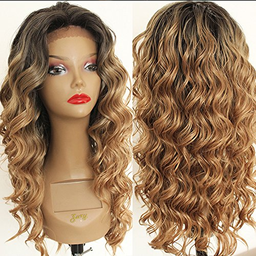 PlatinumHair Fashion Ombre Blonde Curly Wig Synthetic Lace Front Wigs Long Loose Curls Lace Front Wig Heat Resistant Loose Wavy Glueless for Fashion Women ()