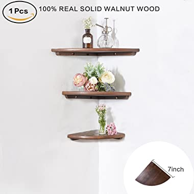 INMAN Wooden Corner Shelf, 1 Pcs Round End Hanging Wall Mount Floating Shelves Storage Shelving Table Bookshelf Drawers Display Racks Bedroom Office Home Décor Accents (Walnut, 7 )