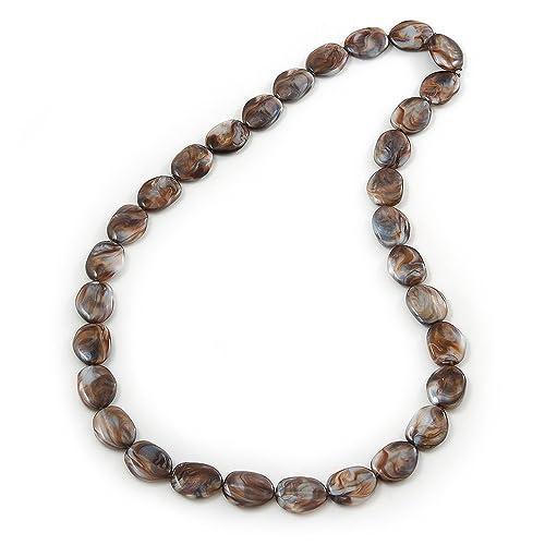 b3cfcbe820a2 Larga marrón efecto mármol   pepita resina collar - 86 cm