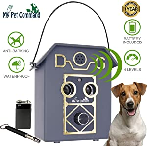 My Pet Command 50Ft Long Range Anti Barking Device, Auto Ultrasonic Dog Bark Deterrent, Dual Speaker,Waterproof,Outdoor,Indoor use, Adjustable Ultrasonic Level Control, Bonus Training Whistle