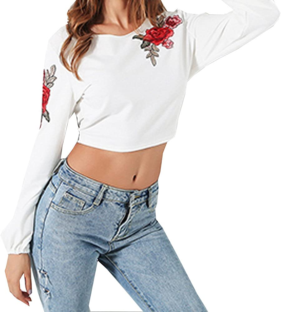 Women Backless Bow Tie Blouses Long Sleeve Rose Embroidered Crop Tops Short