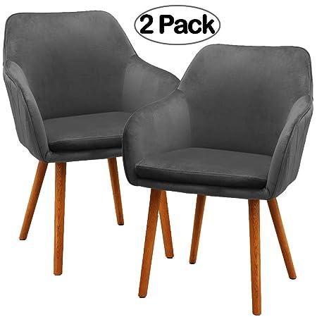 Wohnzimmer Set Grau Style   Ambiendi 2er Set Esszimmerstuhl Samt Weich Kissen Sitz Und Rucken