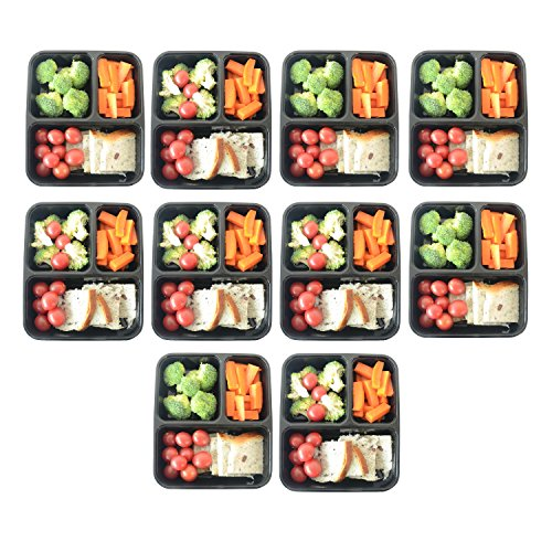 prefer green 3 compartment bento box durable plastic lunch boxes sets meal prep portion. Black Bedroom Furniture Sets. Home Design Ideas