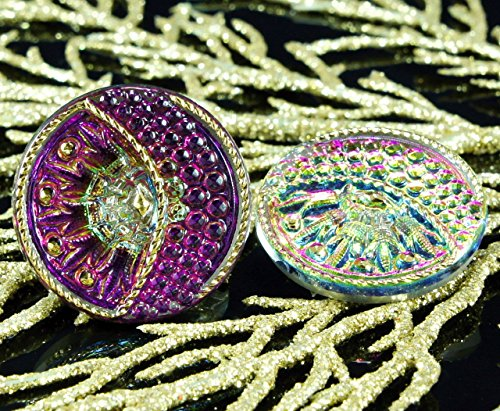 Dichroic Glass Buttons - Handmade Czech Glass Buttons Flower Sun Moon Large Purple Dichroic Vitrail Gold Size 12, 27mm 1pc