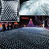 christmas bush lights - 2m x 2m Net Mesh Fairy String Lights, 144 Decorative Net Lights for Party Wedding Christmas Home Patio Lawn Garden White/ Colorful/ Blue [US Plug] (White)