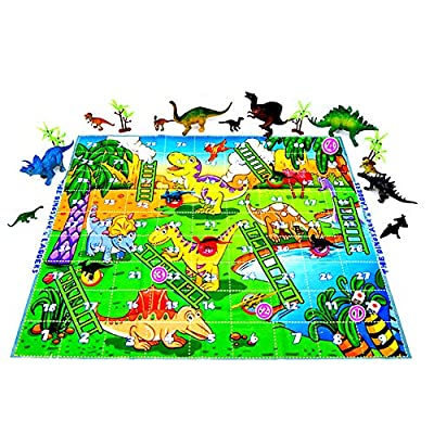 NOQ 34pcs Simulation Dinosaur Toys /Chessboard Dinosaur Toys Large Animal Dinosaur Model, Tyrannosaurus, Fusarium, Dragon, Thorn Dragon Birthday Gift