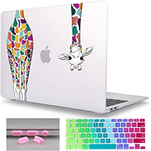 Mektron MacBook Air 13 Inch Case A1466/A1369 (Version 2010-2017), Colorful Giraffe Soft Touch Shell w/Keyboard Cover & Dust Plug