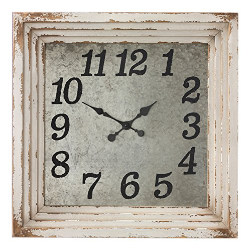 Reclaimed Wood Square Wall Clock in Aged Cream