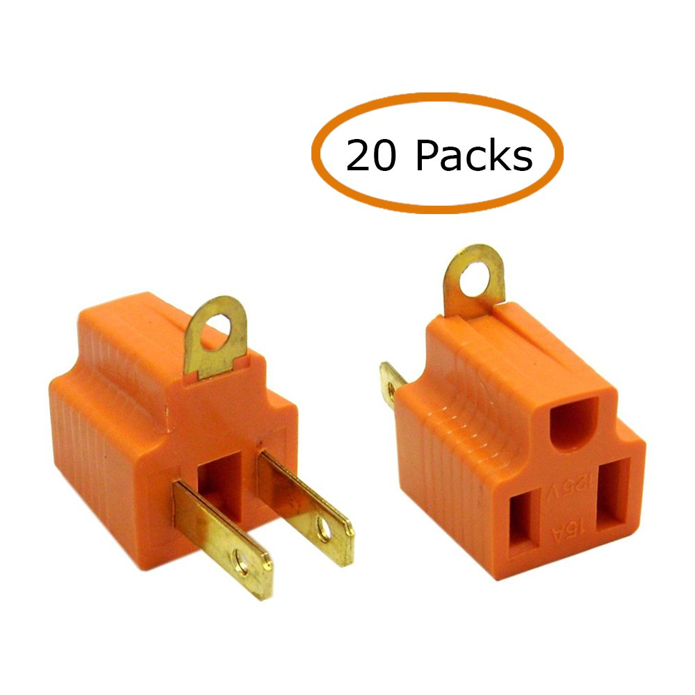 ACL ACL-371188 Ac Outlet's Grounding Converter (3 Pins To 2 Pins), Ul Certified, Orange, 20 Piece