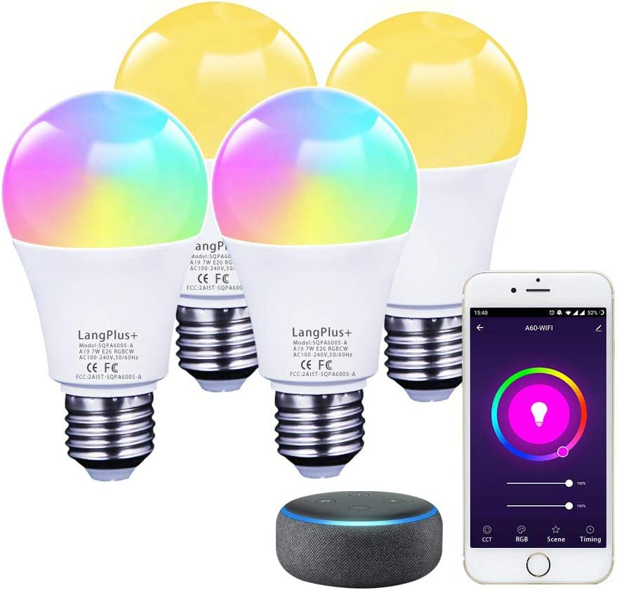 Smart Light Bulb, LangPlus+ LED RGBCW Color Changing, Compatible with Alexa, Google Home (No Hub Required), 2700K-6500K Dimmable A19 E26 Base 7W LED Smart Bulb for Kitchen, Living Room, Bedroom