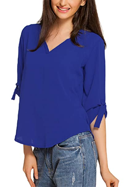0314bd7dc7bb0f Dokotoo Womens Casual Chiffon Ladies V-Neck Cuffed Sleeve Blouse Tops Small  Blue,Blue