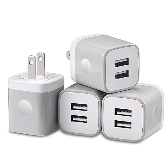 size 40 189c0 2fdb1 USB Wall Charger, Charging Block, LOOGGO 4-Pack 2.1Amps Dual Port USB Plug  Charger Adapter Charging Cube Compatible with iPhone Xs X 9 8 7 6 Plus 5S,  ...