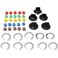 BQLZR 4.9x3cm Black Electrical Knob Kit Range Knob Replacement Knob Handle Kit with Universal Insert Adapters for Oven/Range/Burner Replace Pack of 5