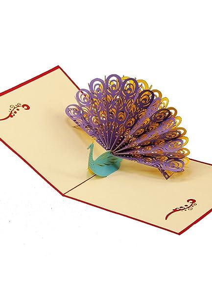 Amazon 3d Pop Up Card Handmade Birthday Card Peacock Greeting
