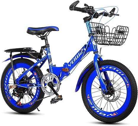 Xiaoping Bicicleta para niños Plegable Bicicleta de montaña Velocidad 20 Pulgadas 6-8-10 años Bicicleta de niña Chico (Color : Blue): Amazon.es: Deportes y aire libre
