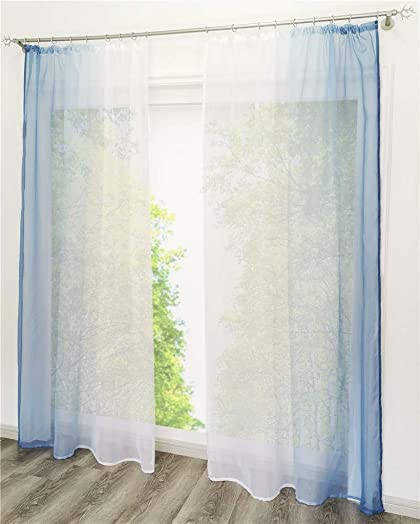86 York 2 Panels Sheer Voile Window Curtain Panels for Bedroom Living Room 55 W x 96 H, Blue