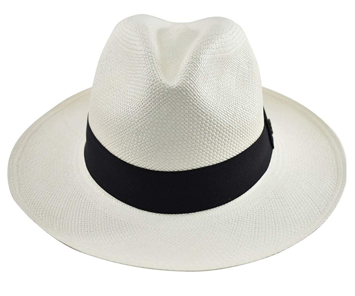 Men's Vintage Style Hats Original Panama Hat - White Classic Fedora - Black Band - Toquilla Straw - Handwoven in Ecuador by Ecua-Andino $97.99 AT vintagedancer.com