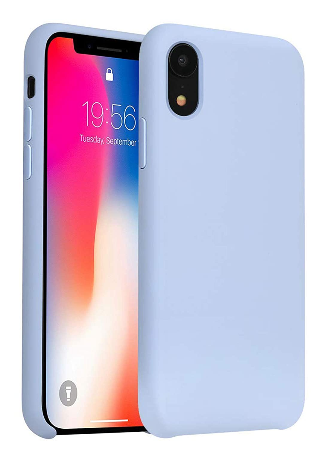 uk availability b94d1 6cd61 iPhone XR Case, Liquid Silicone Gel Rubber Slim Fit Soft Phone Case with  Microfiber Cloth Lining Cushion for Apple iPhone XR (Light Blue)