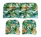 RSH Décor Indoor/Outdoor Wicker Cushions Two U-Shape and Loveseat 3 Piece Set Cantrell Chambray Blue, Green, Tan Leaves