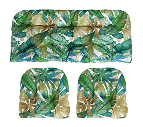Indoor/Outdoor Wicker cushions Two U-Shape and Loveseat 3 Piece Set Cantrell Chambray Blue, Green, Tan Leaves (Loveseat Set Wicker)