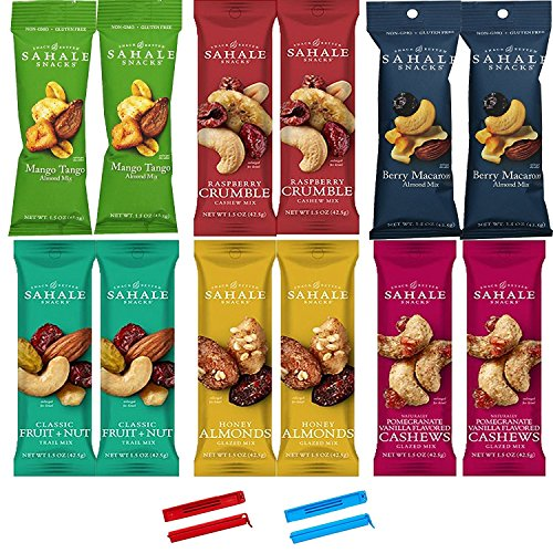 """Sahale Snacks All Natural Nut Blends Grab And Go Variety Pack (1.5 oz x 12 Packs) with 2 x 2"""" Snack Clips"""