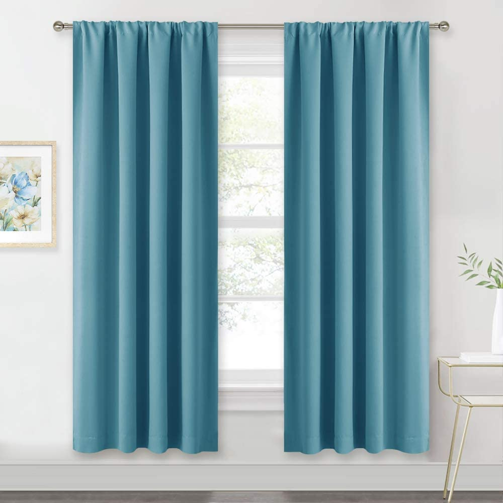 RYB HOME Country Curtains Blackout Drapes for Farmhouse Cabin Dining Sitting Room Bedroom Decor, Light Block Privacy Wall Panels, W 42 x L 72 per Panel, Teal, 1 Pair