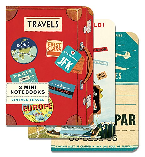 Cavallini Papers & Co. Mini Notebooks Vintage Travel Mini Notebooks Packaged Together As One Set, 4 x 5.3