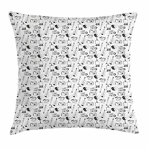 J.Lambert Sketch Throw Pillow Cushion Cover Classic Fine Arts Symbols and Objects Theater Masks Violin Flute Photo Camera Easel Decorative Square Accent Pillow Case 18 X 18 Inches Black White