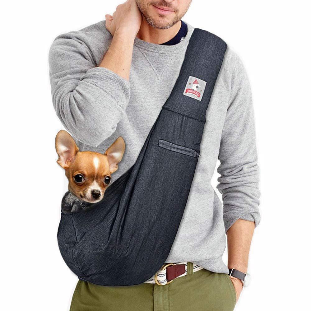 MRELEC Small Cat Pet-Dog-Carrier-Sling-Backpack Front Pack Purse Puppy Shoulder Bag Snuggle Dog Travel Pouch Outdoor Riding Tote for Men Girl (deep Denim Blue) by MRELEC