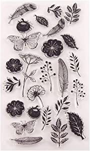 Dandelion Flowers Leaves Butterfly Stamp Rubber Clear Stamp/Seal Scrapbook/Photo Album Decorative Card Making Clear Stamps