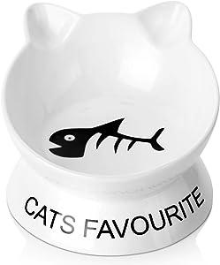 SAMSLE Cat Bowl Anti Vomiting, Tilted Elevated Cat Bowl, 4 Oz Ceramic Pet Food Bowl,Whisker Stress Free Cat Food Bowls, Cute Cat Dish for Kitten
