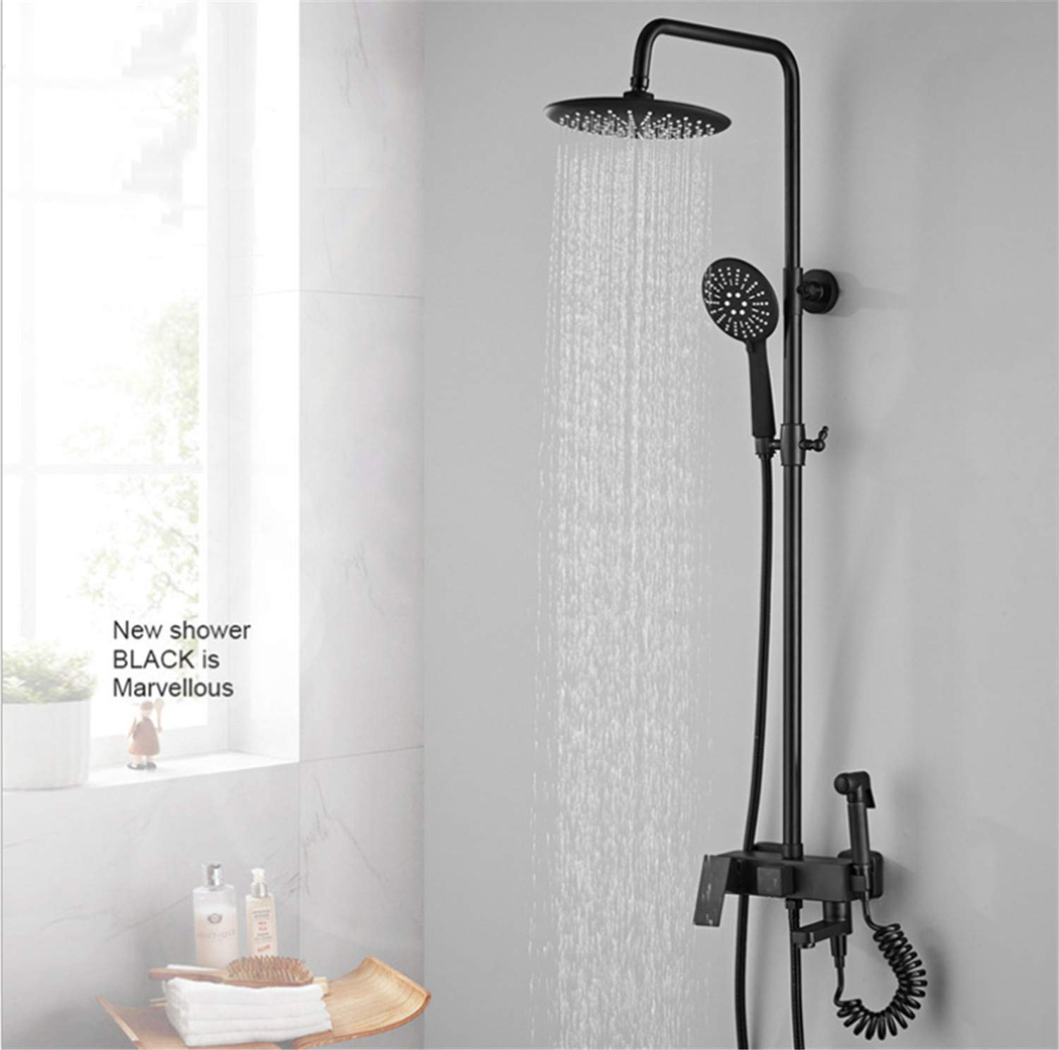 UNIQUE-F Shower Set Matte Black Antique Round Rain Head Handheld Nozzle Silicone Soft Head is Not Easy to Breed Bacteria Rust Wear Durable by UNIQUE-F (Image #4)