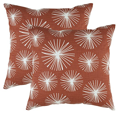 (TreeWool Decorative Square Throw Pillow Covers Set Starburst Accent 100% Cotton Linen Cushion Cases Pillowcases (18 x 18 Inches / 45 x 45 cm; Rust in Cream Background) - Pack of 2)