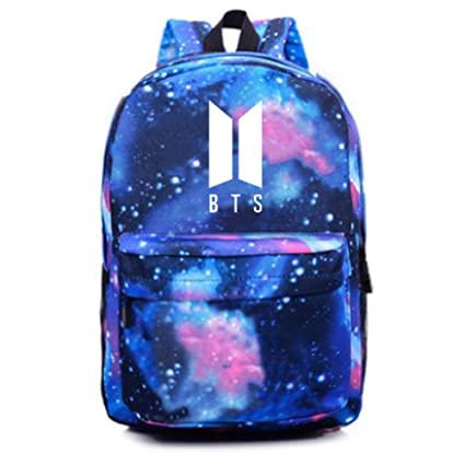 NUOFENG Kpop BTS Backpack Bangtan Boys Starry Sky Satchel Schoolbag Casual  Daypack Laptop Bags (Blue