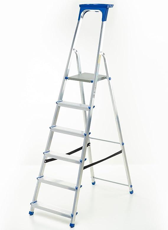 Escalera aluminio – Escalera de 6 peldaños con certificado de calidad TÜV/GS Incluye bandeja multifuncional: Amazon.es: Hogar