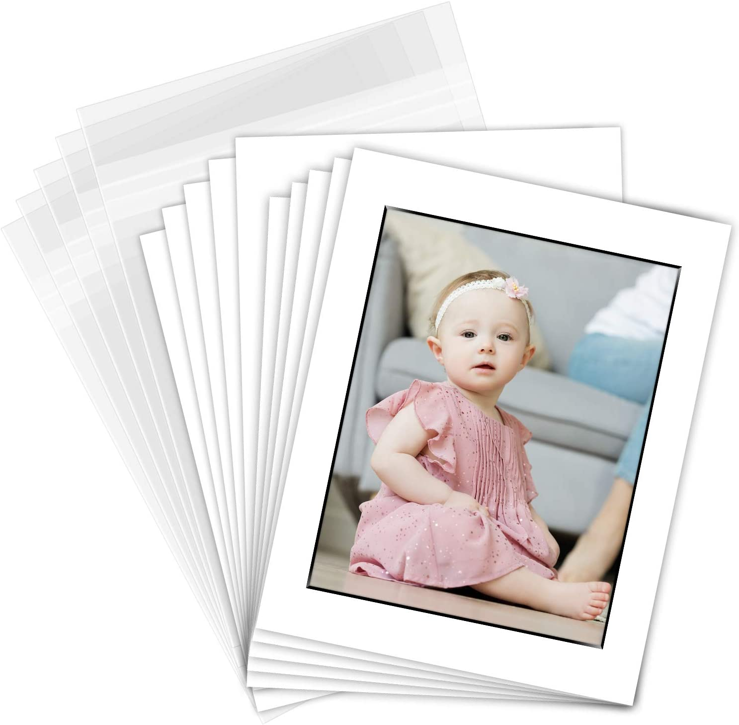 THE DISPLAY GUYS Professional 8x10 Pack of 25 Deluxe White w//Black Core Picture Photo Matting Mat Boards Backing Boards Clear Plastic Bags Complete Set
