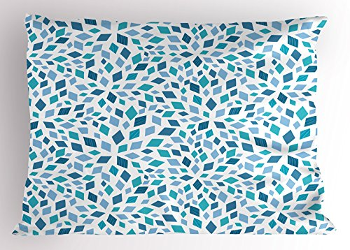 Ambesonne Teal Pillow Sham, Abstract Style Scattered Mosaic Shapes in Blue Tones Rhombus, Decorative Standard King Size Printed Pillowcase, 36
