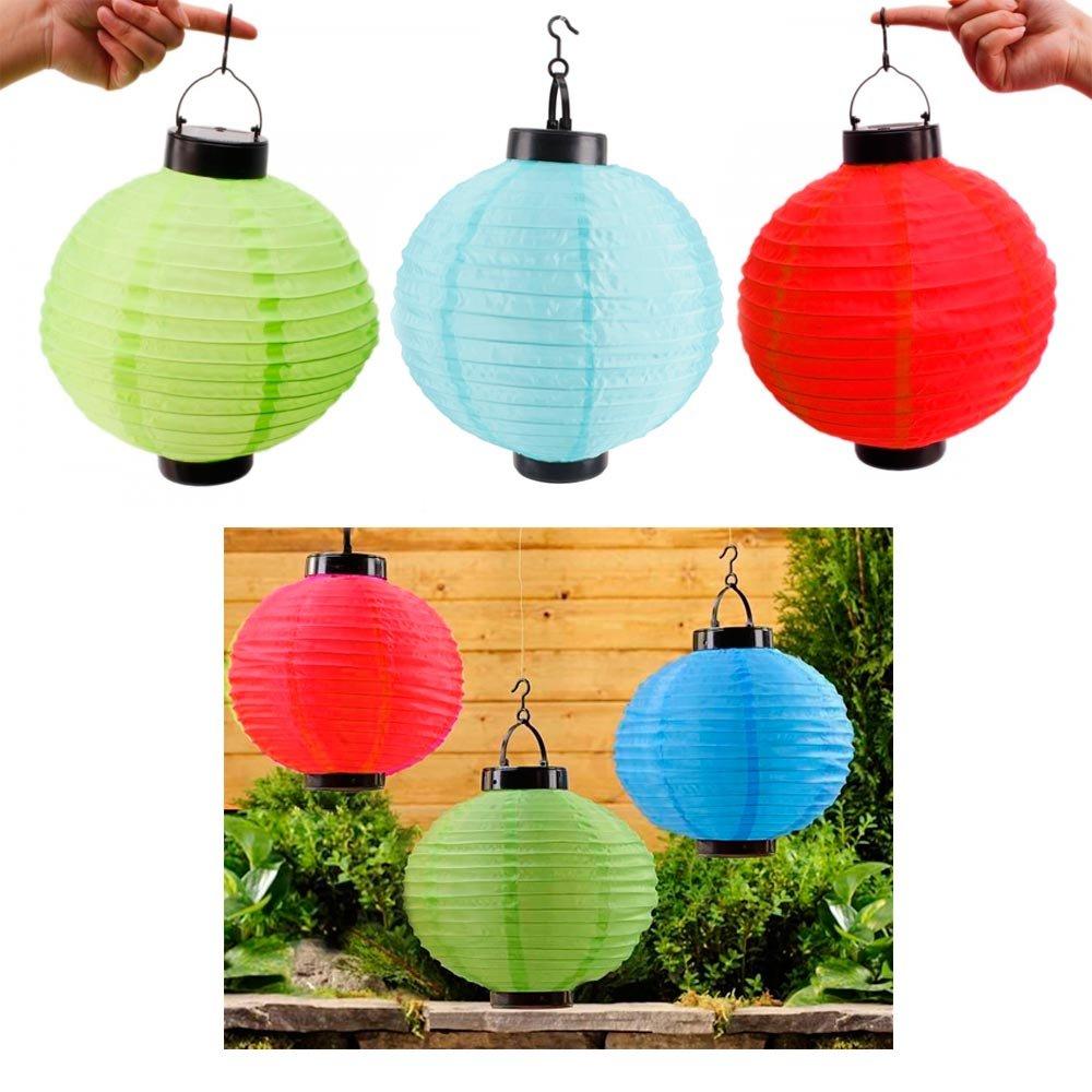 3 x Solar LED Chinese Paper Lanterns Party Round 10'' Garden Wedding Decoration