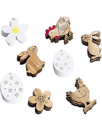 Amasawa 32 Pièces Lapin/Fleurs/Poulet/Oeufs Pâques En Bois Pendentif Avec La