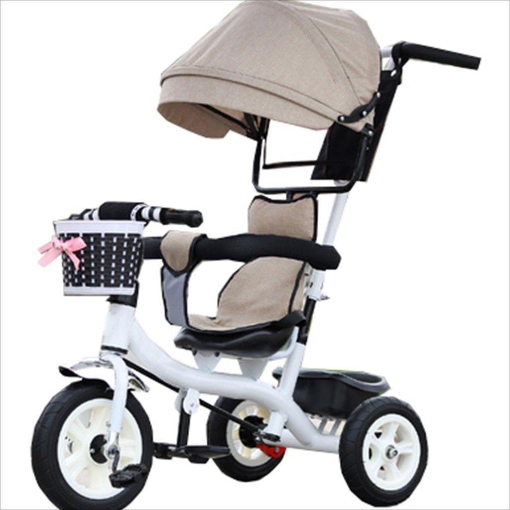 子供の屋内屋外の小さな三輪車自転車の男の子の自転車の自転車6ヶ月6歳の古い赤ちゃん3輪トロリー天井、ゴムホイール(ベージュ、白) B07DVHP81F