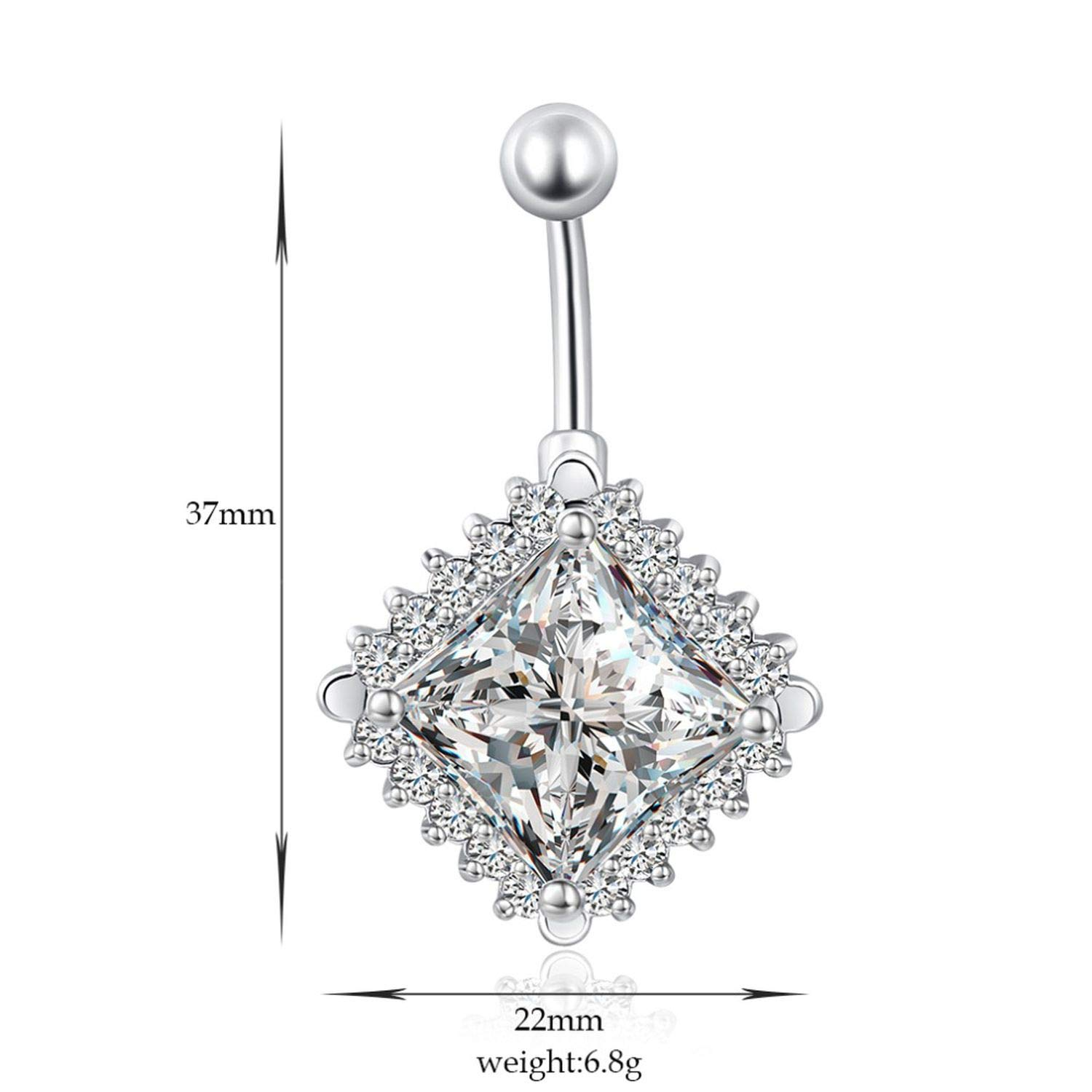 Simple Zircon Style Navel Piercing Surgical Steel Belly Button Silver Piercings Belly Button Ring Piercing