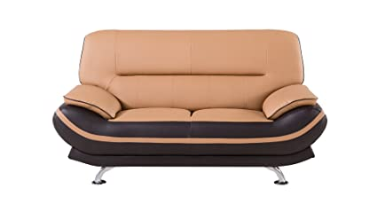 Stupendous American Eagle Furniture Upholstered Two Toned Faux Leather Loveseat With Added Base Support And Pillow Top Armrests Yellow Brown Short Links Chair Design For Home Short Linksinfo