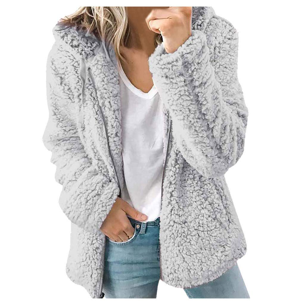 LBPSUUEW Women Coat Fleece Fuzzy Faux Shearling Overcoat Winter Warm Wool Knit Cardigan Hooded Jacket (2XL, Gray) by LBPSUUEW YEVS
