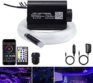 AKEPO 16W Car Home Use Fiber Optic Lights Star Ceiling Light Kit APP + Music Control, RGBW Sound Sensor Light Source with 28key RF Musical Remote with Mixed Fiber Cable 295pcs(0.75+1+1.5mm)9.8ft/3m