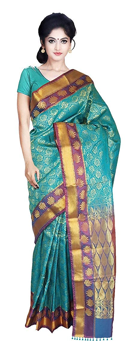 ab30fe219c3350 VFCollections - Kanchipuram Pattu Silk Saree - Rose Flowers Buta all over  With Blouse Piece For Women (Green): Amazon.in: Clothing & Accessories