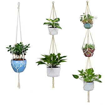 Amazon Com Ironbuddy 3 Pack Hanging Planter Holder 1 2 3 Tier Plant