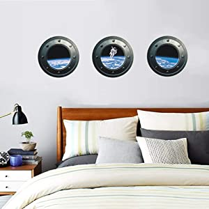 ufengke Astronaut in Outer Space Porthole Wall Art Stickers Imagine Watching Astronaut from a Space Ship Window Creative Decorative Removable DIY Vinyl Wall Decal Living Room, Bedroom Mural